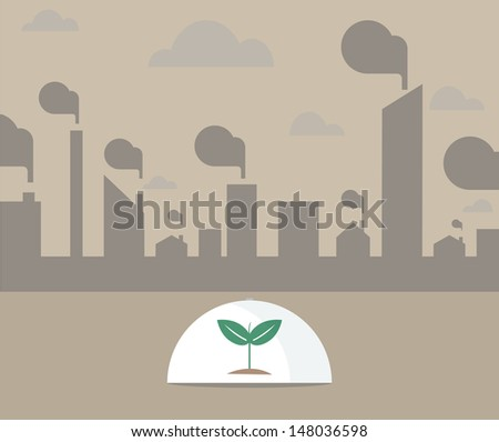 Vector of Single tree under glass shield surrounding with pollution city