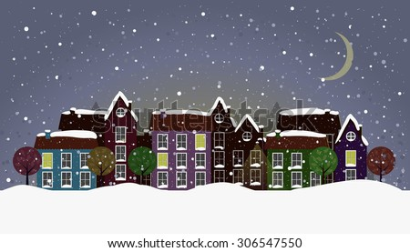 Vector of Small Town at Winter Night or Twilight. Colorful houses with windows, some are lit and have candles. With stylized trees, lantern and animals as decorations. Moon and stars. eps 10