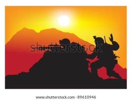 Vector of soldiers on action at sunset.