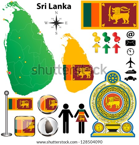 Vector of Sri Lanka set with detailed country shape with region borders, flags and icons - stock vector