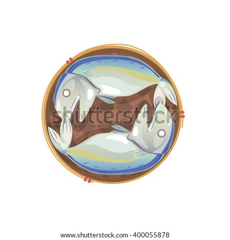 Vector of steamed mackerel in basket on white background.