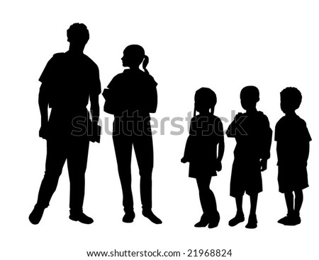 Vector of students congregating in schoolyard - stock vector