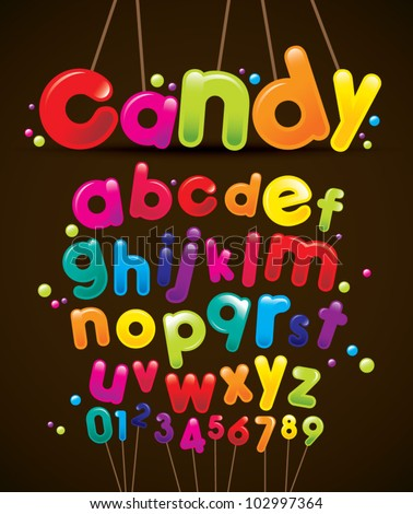 vector of stylized candy-like alphabets - stock vector
