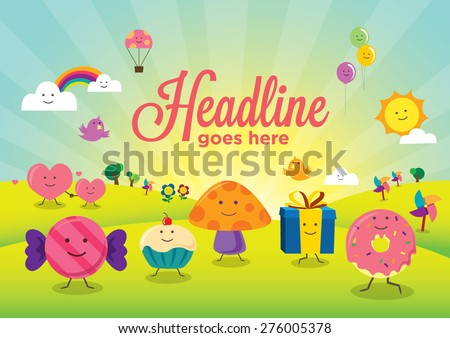 Vector of stylized characters  for children - stock vector
