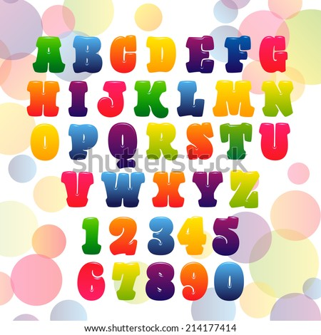 vector of stylized children candy alphabets. - stock vector