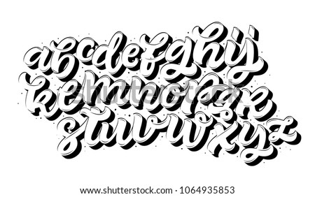 Vector Of Stylized Cursive Font And Alphabet Black White Hipster Typography