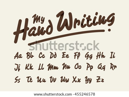Vector of stylized handwriting font and alphabet - stock vector