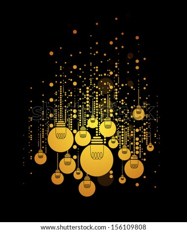 vector of stylized light bulbs and background - stock vector
