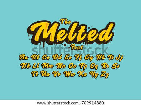 Vector of stylized melted font and alphabet