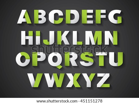 Vector of stylized paper font and alphabet - stock vector