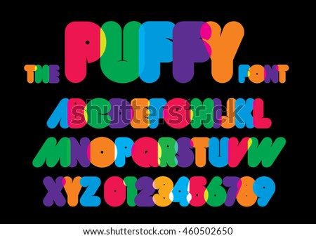 Vector of stylized rounded font and alphabet