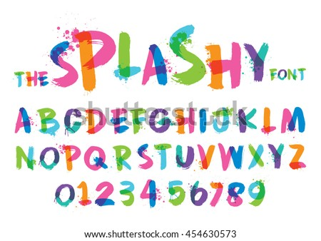 Vector of stylized splashy font and alphabet - stock vector