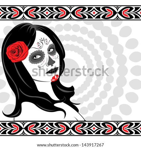 Vector of Sugar Skull Lady with face paint for Day of the Dead (Dia de los Muertos)