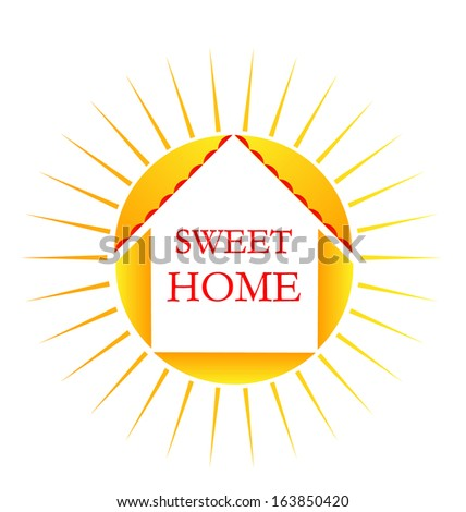 Vector of sun and sweet home word icon - stock vector
