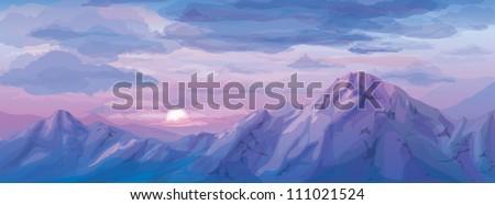 Vector of sunrise landscape - stock vector