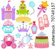 Vector of Sweet Princess theme with pastel castle, frog prince, crown, pink carriage, cake. A set of cute and colorful icon collection isolated on white background - stock vector