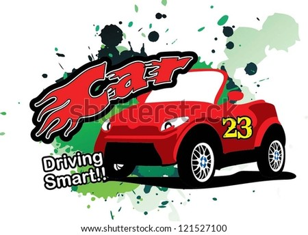 Vector of T- Shirt design - car - stock vector