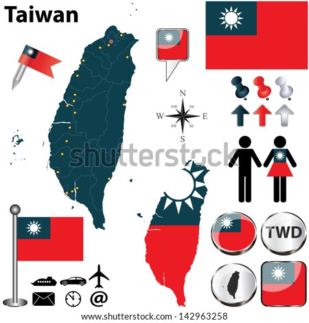 Vector of Taiwan set with detailed country shape with region borders, flags and icons - stock vector