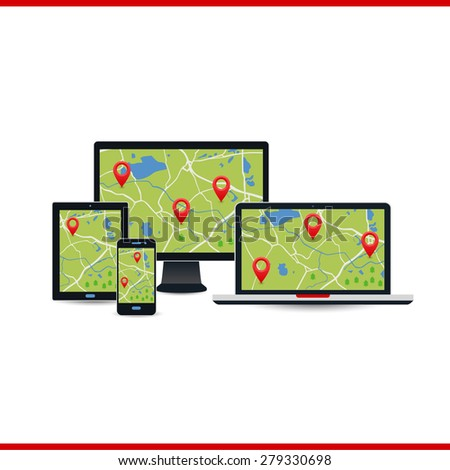 Vector of technological devices: computer, laptop, tablet, phone. Card and stamp. The location, the flat route. Icon pin