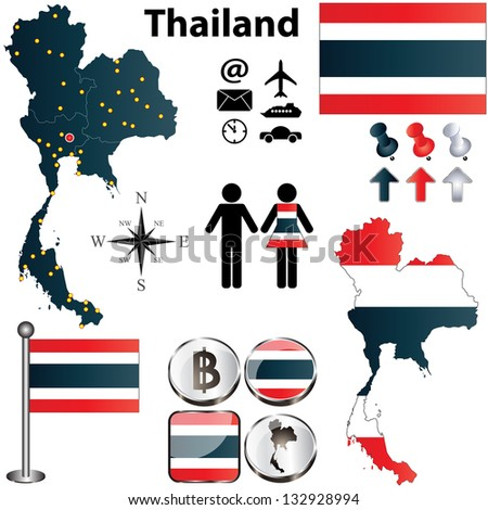 Vector of Thailand set with detailed country shape with regions borders, flags and icons - stock vector