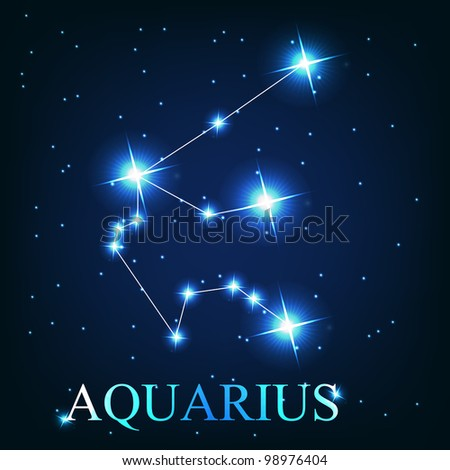 vector of the aquarius zodiac sign of the beautiful bright stars on the background of cosmic sky - stock vector