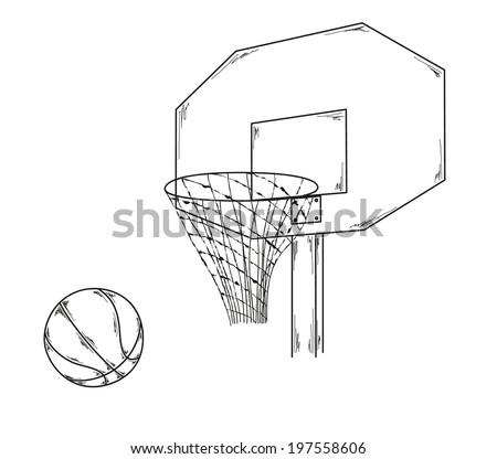 Vector Basketball Ball Net Sketch Stock Vector 197558606 - Shutterstock