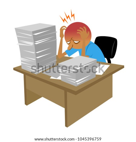 dizzy office furniture. Vector Of The Grueling Days At Office, So Much Work That Causing Stress And Dizzy Office Furniture P