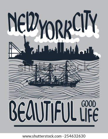 vector of the New York skyline / Modern New York  Silhouette / new york - hand drawn metropolis / T-shirt Graphics - stock vector