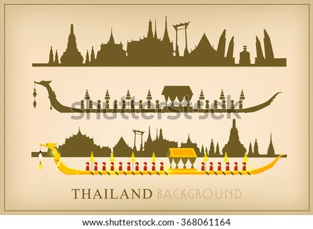 Vector of The Royal Barge Suphannahong on River, Landmark of Thailand Background siluette