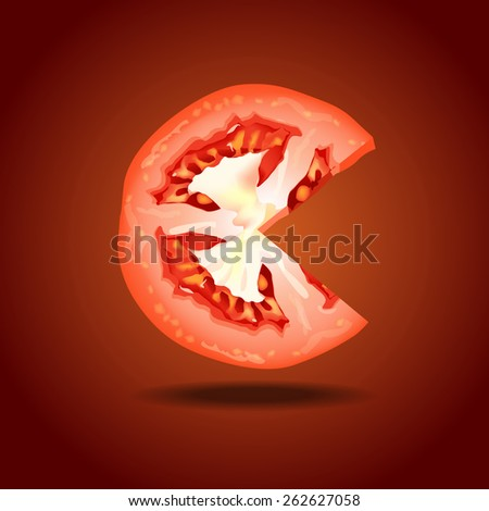 Vector of tomato slice on red background