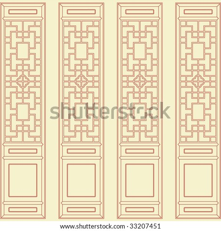 Vector of Traditional Asian Window and Door Pattern - stock vector