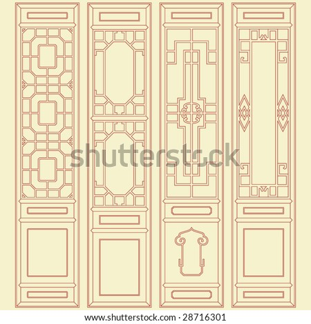 Vector of Traditional Chinese Classic Window, door, screen Frame Pattern - stock vector