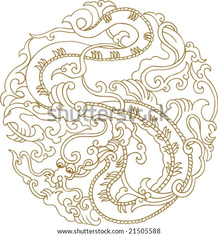 Vector of Traditional Chinese Dragon Pattern - stock vector