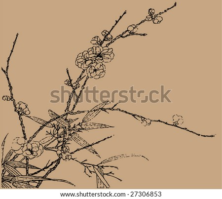 Vector of Traditional Chinese Stroke painting from Ming Dynasty - stock vector