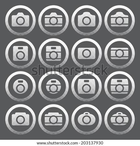 Vector of transparent icon, camera set on isolated background - stock vector