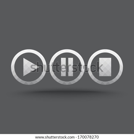 Vector of transparent play, pause and stop button icon on isolated background - stock vector