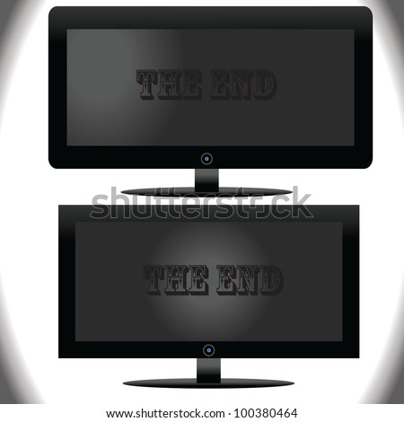 vector of tv with a ending on the screen - stock vector