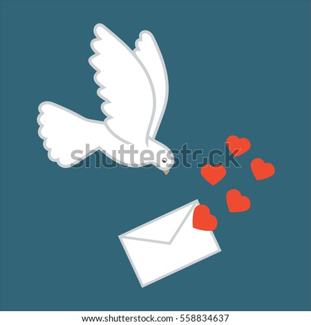 vector of valentines day card with dove letter and hearts