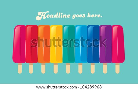 vector of various colored ice-cream in a row - stock vector