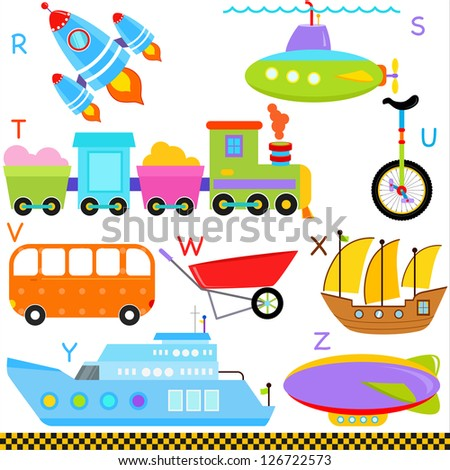 Vector of vehicle transportation Alphabet R - Z, rocket, submarine, train, unicycle, van, wheelbarrow, xebec, yacht, zeppelin, simple dictionary for Kid. Set of colorful back to school icon collection