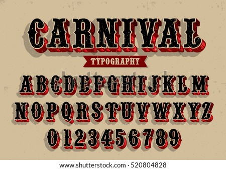 Vector of vintage carnival font and alphabet