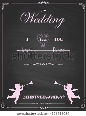 Vector of  vintage frames, blank black chalkboard wedding design. Illustration eps10 - stock vector