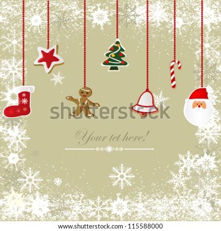 Vector of Vintage, grungy Christmas background - stock vector