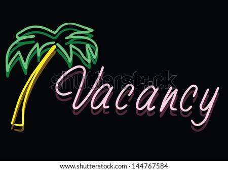 Vector Of Vintage Neon Vacancy Sign At A Beach Hotel - stock vector