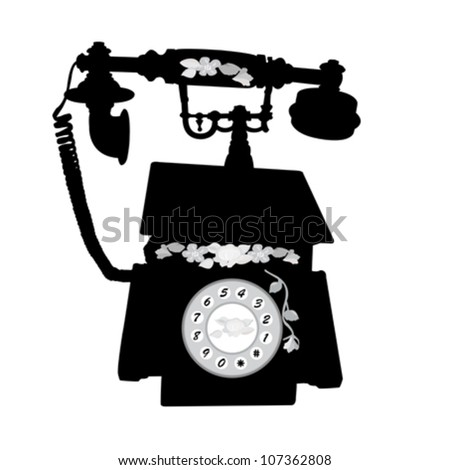 vector of vintage telephone over white background - stock vector