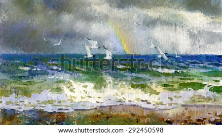 Vector of watercolor of sea with rainbow and seagulls - stock vector