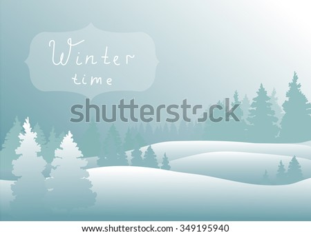 Vector of winter landscape in forest.