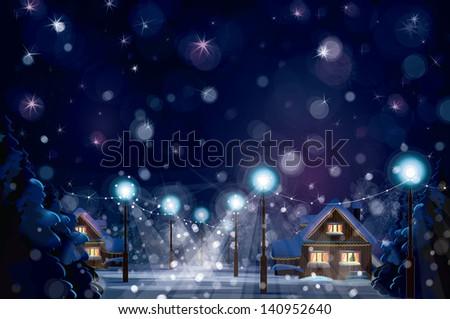 Vector of winter landscape. Merry Christmas! - stock vector