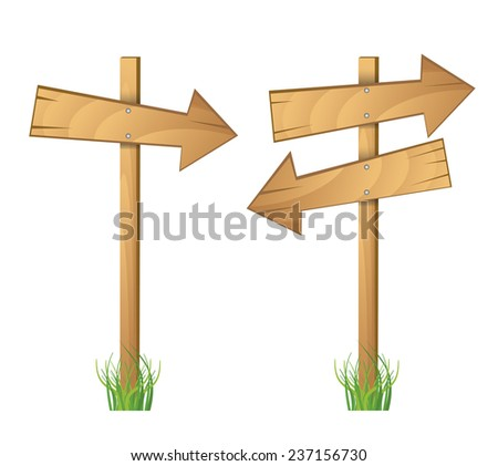 Vector Of Wooden Signs - stock vector
