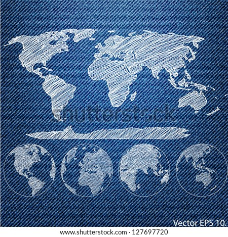 Vector of World Map Globe on the Blue Denim Texture Background, EPS 10. - stock vector